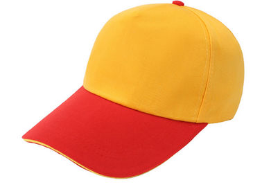 Cina Stitching Kuning Dan Merah Canvas Baseball Cap 6 Panel Nyaman Dengan Strap Adjustable Distributor